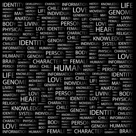 civilized: HUMAN. Word collage on black background  illustration.
