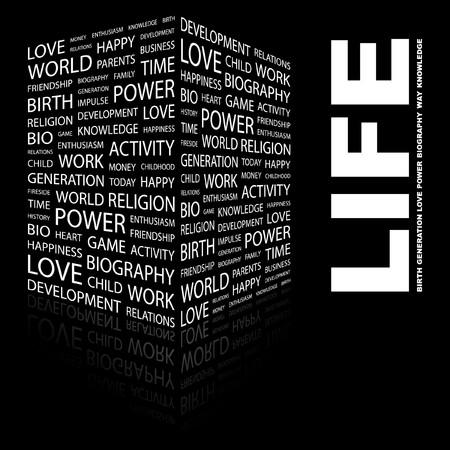 biography: LIFE. Word collage on black background.  illustration.