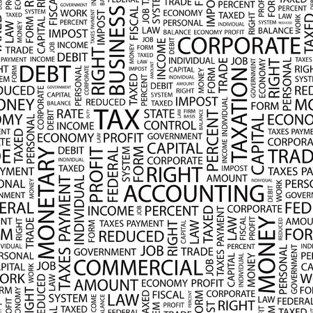 debt collection: TAX. Seamless  pattern with word cloud.