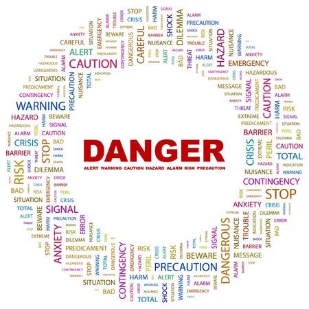 predicament: DANGER. Word collage on white background.  illustration.