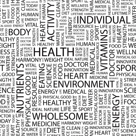 wellness environment: HEALTH. Seamless   pattern with word cloud.