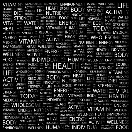 wellness environment: HEALTH. Word collage on black background. illustration.    Illustration