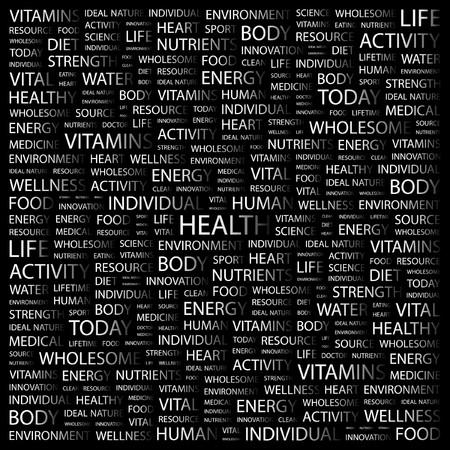 equipe medica: SALUTE. Parola di collage su sfondo nero. illustrazione.