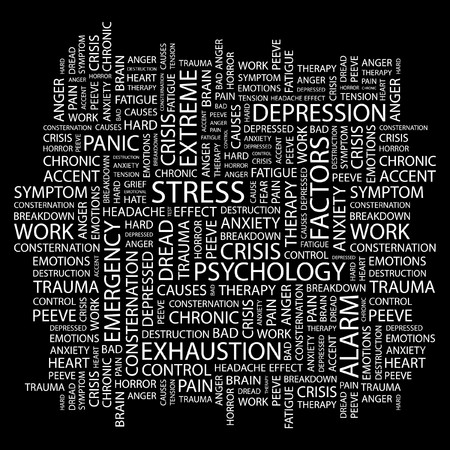 STRESS. Word collage on black background. illustration.    Vector