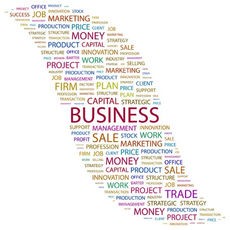 BUSINESS. Word collage on white background.  illustration.    Vector