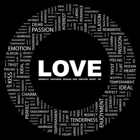 carta de amor: AMOR. Palabra collage sobre fondo negro. ilustraci�n.  Vectores
