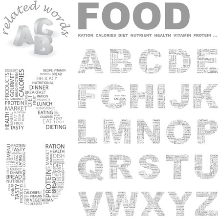 potluck: FOOD.  letter collection. Wordcloud illustration.   Illustration