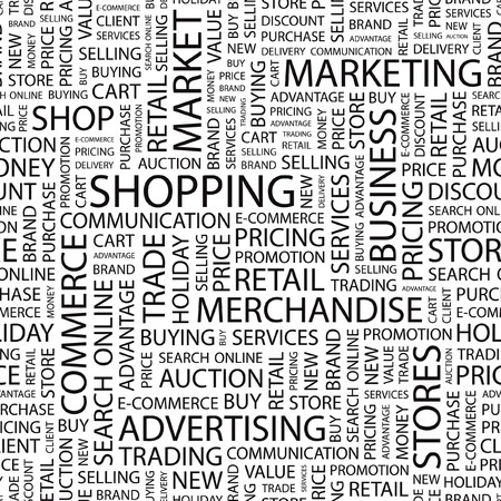 SHOPPING. Seamless  background. Wordcloud illustration. Stock Vector - 7356436