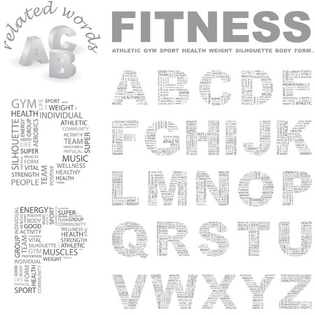 hardiness: FITNESS. letter collection. Wordcloud illustration.   Illustration