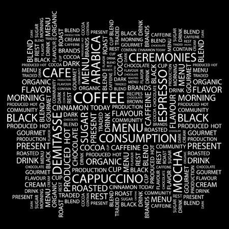 demitasse: COFFEE. Word collage on black background.  illustration.    Illustration