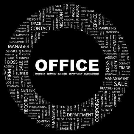 OFFICE. Word collage on black background.  illustration. Stock Vector - 7357121