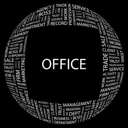 OFFICE. Word collage on black background. illustration. Stock Vector - 7357066