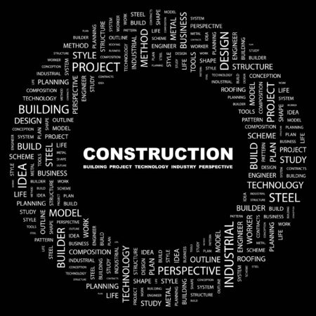 industrial decor: CONSTRUCTION. Word collage on black background. illustration.    Illustration