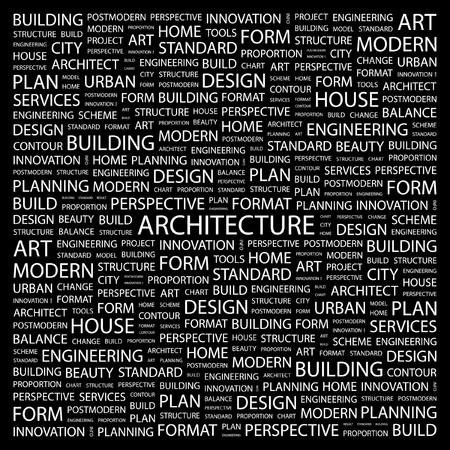 systematization: ARCHITECTURE. Word collage on black background.  illustration.    Illustration