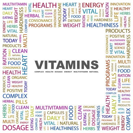 VITAMINS. Word collage on white background. illustration. Stock Vector - 7355612