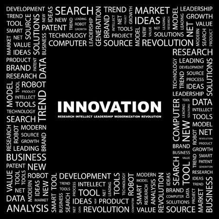 INNOVATION. Word collage on black background. illustration.