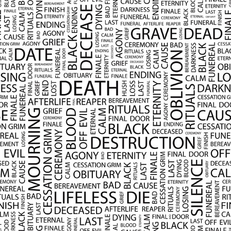 decease: DEATH. Seamless  background. Wordcloud illustration.