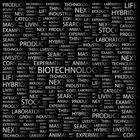 BIOTECHNOLOGY. Word collage on black background.  illustration. Stock Vector - 7358524