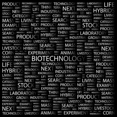 BIOTECHNOLOGY. Word collage on black background.  illustration.    Vector