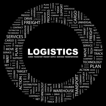 LOGISTICS. Word collage on black background. Stock Vector - 7350827