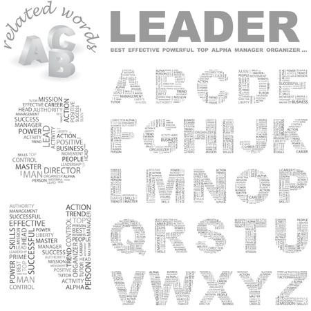 kingpin: LEADER.  Word cloud illustration.   Illustration