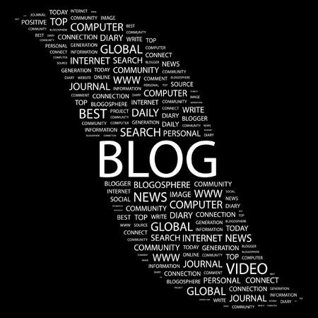 BLOG. Word collage on black background. Illustration
