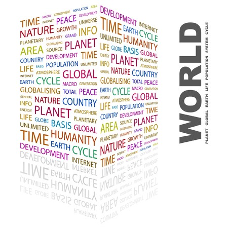 WORLD. Word collage on white background. Vector