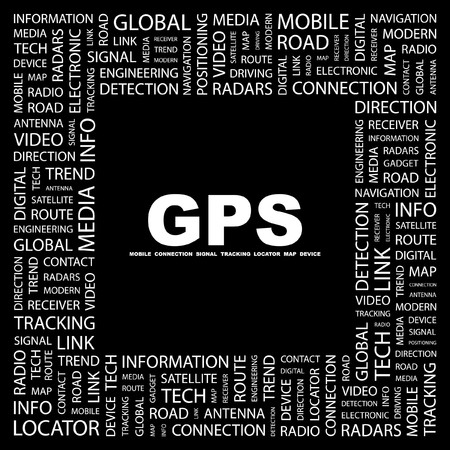 GPS. Word collage on black background. Stock Vector - 7350756