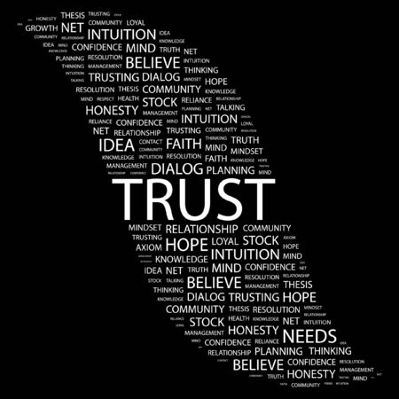 TRUST. Word collage on black background Vector