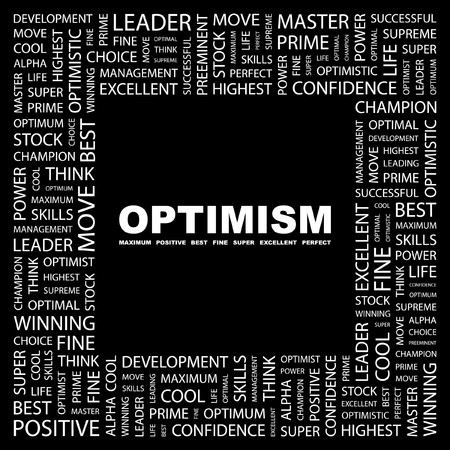 OPTIMISM. Word collage on black background Stock Vector - 7383349