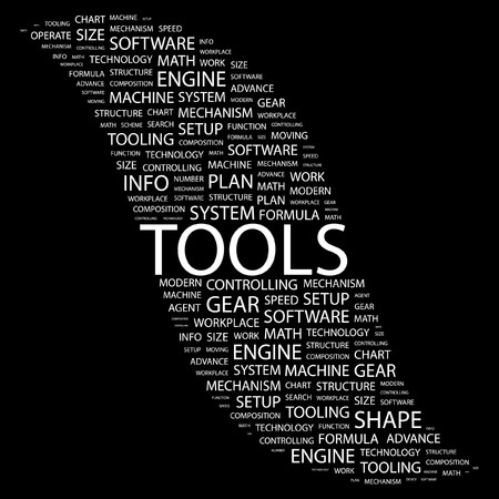TOOLS. Word collage on black background Stock Vector - 7383351