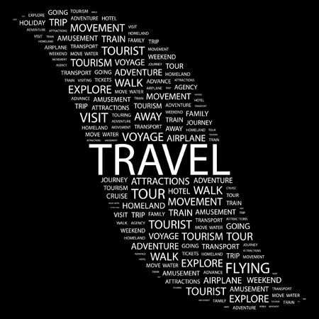 TRAVEL. Word collage on black background Vector