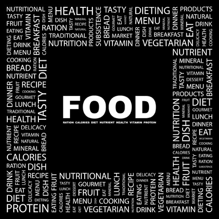 FOOD. Word collage on black background Vector