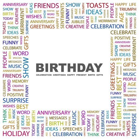 merriment: BIRTHDAY. Word collage on white background. Illustration