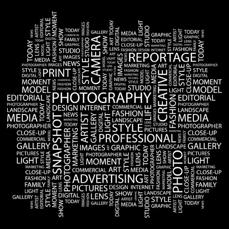 PHOTOGRAPHY. Word collage on black background Stock Vector - 7383373