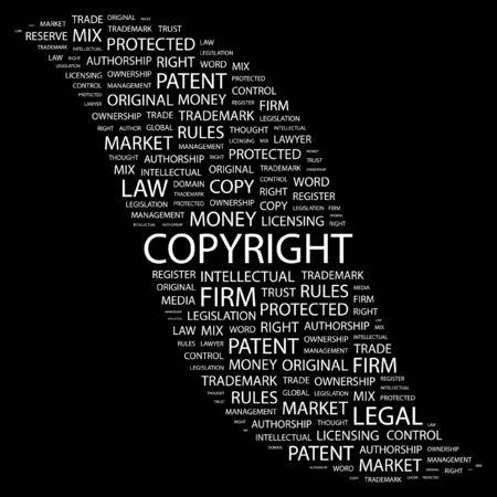 authorship: COPYRIGHT. Word collage on black background