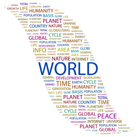 WORLD. Word collage on white background. Vector illustration.    Vector