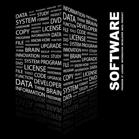 more information: SOFTWARE. Word collage on black background. Vector illustration.    Illustration