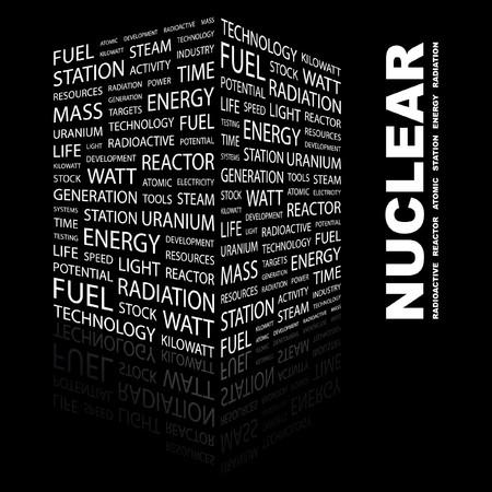 kilowatts: NUCLEAR. Word collage on black background. Vector illustration.    Illustration