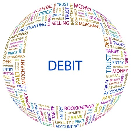 indebtedness: DEBIT. Word collage on white background. Vector illustration.