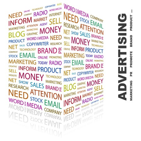 marketing mix: ADVERTISING. Word collage on white background. Vector illustration.