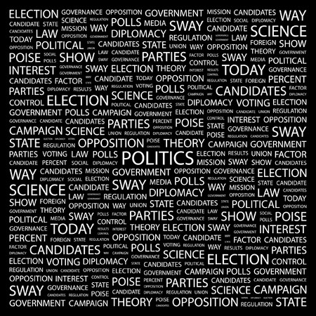 POLITICS. Word collage on black background. Vector illustration.    Stock Vector - 7371359