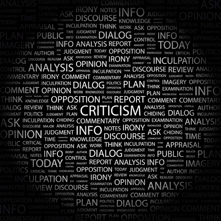 remonstrance: CRITICISM. Word collage on black background. Vector illustration.
