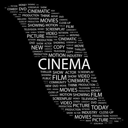 cinematograph: CINE. Palabra collage sobre fondo negro. Ilustraci�n vectorial.
