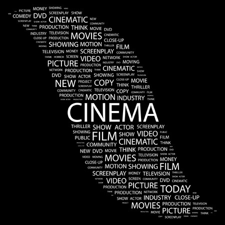 CINEMA. Word collage on black background. Vector illustration.