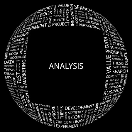 ANALYSIS. Word collage on black background. Vector illustration. Stock Vector - 7371337