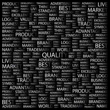 control system: QUALITY. Word collage on black background. Vector illustration.