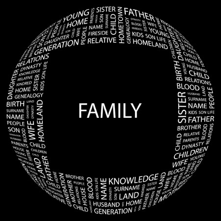 FAMILY. Word collage on black background. Vector illustration. Stock Vector - 7371317