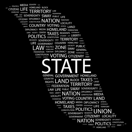citizenry: STATE. Word collage on black background. Vector illustration.