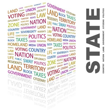 citizenry: STATE. Word collage on white background. Vector illustration.